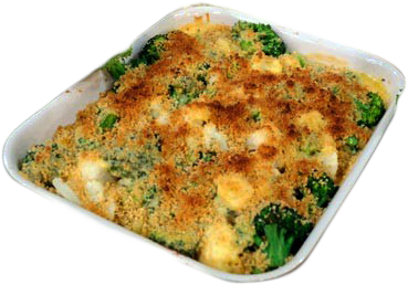 Broccoli & Cauliflower Gratin with Cheddar Cheese