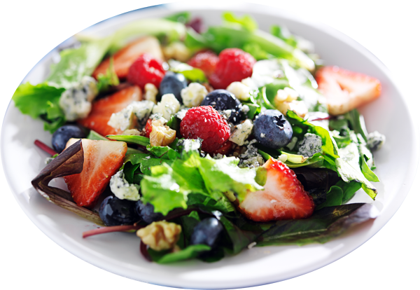 Greens with Fruit and Blue Cheese