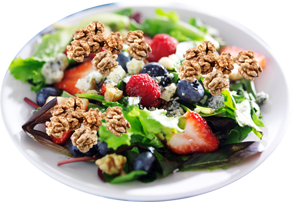 Mixed Greens with Berry Dressing and Toasted Walnuts